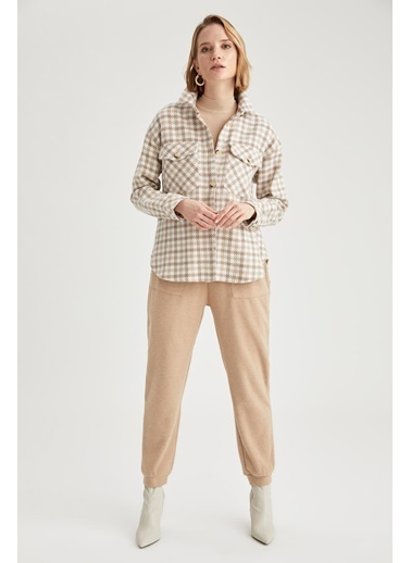 DeFacto Ekoseli Oversize Gömlek Ceket Bej